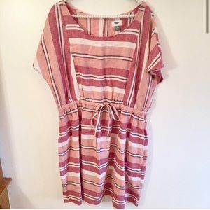Old Navy pink striped linen blend dress size 1x